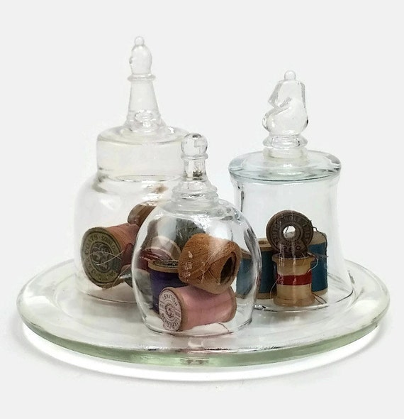 """Vintage Glass Cloche 3 Piece Set Chess Piece Handle On Glass Base, Glass Dome, Bell Jar-""""Ships International"""" Email For Rates"""