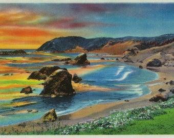 Oregon Coast Pacific Ocean View - Vintage Artwork (Art Print - Multiple Sizes Available)