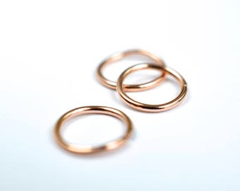 14K rose gold hoop piercing helix earring cartilage piercing nose piercing tragus piercing multiple piercing endless hoop nickel free
