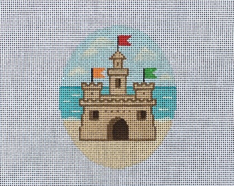 Hand Painted Sand Castle Needlepoint Canvas by MyPinkSugarLife