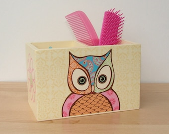 owl in paisley patterns desk caddy