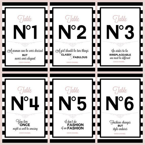 Table Numbers 1-6 with Chanel quotes DIGITAL PRINTABLE