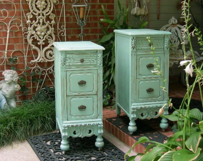 2 NIGHTSTANDS Custom Order For Your Shabby Chic Bedroom Pair of Shabby Chic Nightstands Hand Painted Furniture Shabby Chic Furniture