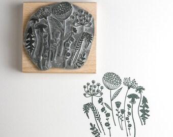 Wild Flower Silhouette Rubber Stamp, flower stamp, wild flower, craft stamp, art stamp, gift for her, custom stamp, stationary, card making