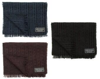 Linton Tweed Black & Brown, Blue or Deep Red Fringed Scarf