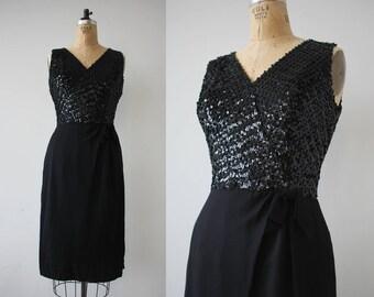 1960s vintage dress / 60s black sequin party dress / 60s rayon cocktail dress / 60s little black dress / 60s LBD / 60s NYE dress / medium