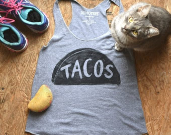 Womens Racerback Taco Tank Tshirt, yoga clothes, taco tuesday, day gift for her, motivational workout woman, girlfriend gift, yoga razorback