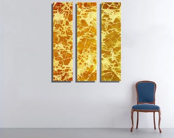 Yellow Gold Large Vertical Thin Panel Metal Abstract Wall Art