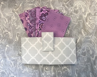 Purple and Gray Dave Ramsey Fabric Cash Envelopes budgeting system or couponing system with wallet