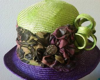 "Cloche ""Ashley"" Handmade Parasisal Two-Tone Hat Apple Green & Purple"