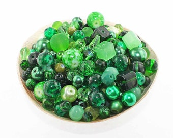 Glass Bead Mix Assorted 250 Green Color Combination 6mm to 12mm - BMX049