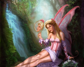 13x13 Signed Pink Faerie Primping Print by Sandra Chang-Adair