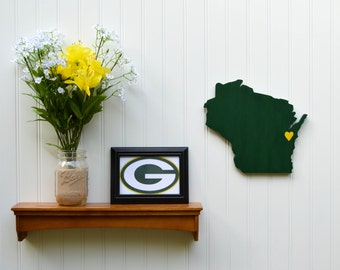 """Green Bay Packers """"State Heart"""" wall art, handcrafted wood featuring official team colors"""