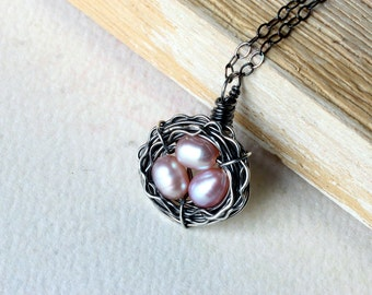 Bird's Nest Necklace, Pink Freshwater Pearl, Oxidized Sterling Silver - Rose Nest by CircesHouse on Etsy