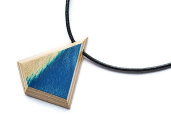 Wood (Skateboard) Necklace and Leather Blue and Beige - Reversible - 16po Men Women Children Teen Girl Boy Skater Surfer Laminated Deep blue