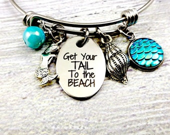 Mermaid Bangle, Get Your Tail to the Beach, beach jewelry, Engraved Expandable Bracelet