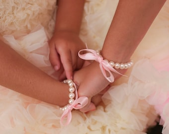 Flower Girl Jewelry Flower Girl Gift pearl and ribbon bracelet flower girl bracelet any ribbon color