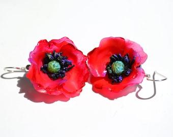 Red Poppies Flower Earrings, Statement Jewelry, Fine Art Jewelry, Summer Outfit, Romantic Style -OOAK Sterling Hook Earrings
