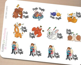 Date Night Cliparts Planner Stickers perferct for Erin Condren, Kikki K, Filofax and all other Planners