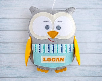Soft toy Baby toys Owl figurine First ornament Cute kids room ideas Gift for son Graduation gift Custom for boy Grandson birthday Gray plush