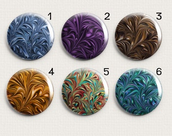"""Marble Swirl 1"""" Inch Changeable Magnetic Pendant Toppers or Refrigerator Magnets Choose Individual Magnets or the Complete Set"""