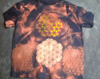 Sacred geometry unique hand dyed kids top