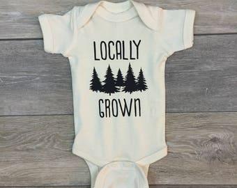 Locally Grown Baby Bodysuit, Baby Shower Gift, Baby Boy, Baby Girl, Gender Neutral