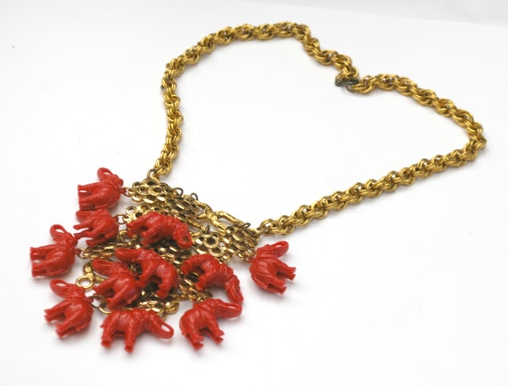 Red Elephant Statement Necklace - Dangle red Resin elephants - Gold Loops - cha cha  Bib Necklace