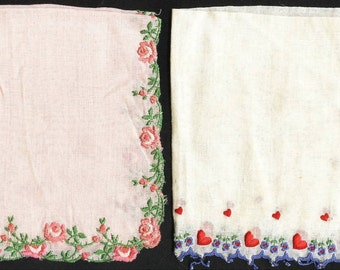Lot of Six Antique Vintage Ladies Handkerfhiefs Hankies Flowers Hearts