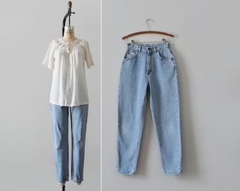 tapered lee jeans / 26 waist / vintage high waisted womens jeans / made in usa