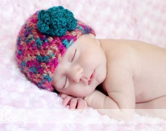 PATTERN: Jumbo Flower Hat, size Newborn to Adult, Easy Crochet PDF, beanie, InStaNT DowNLOaD Permission to Sell