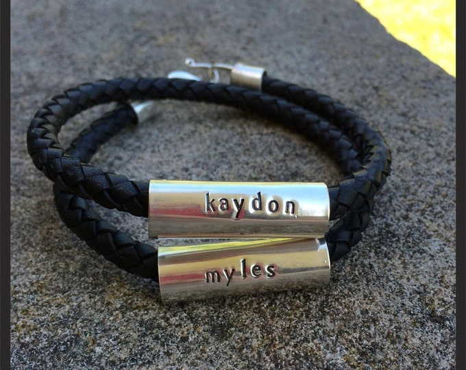 "Men's Latigo and Sterling Silver ""Tube"" Double Wrap Bracelet - Extra Thick, 8mm leather - Custom Message or Names - Many Font Choices"