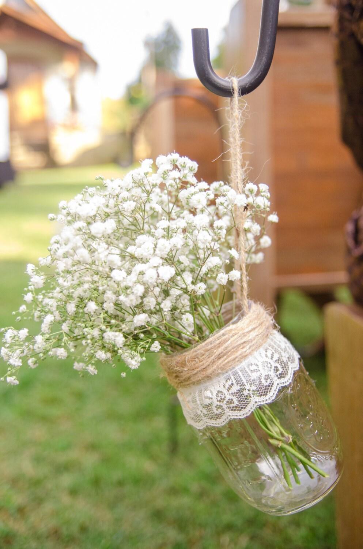 Hanging Mason Jars Mason Jar Decorated Rustic Wedding Decor