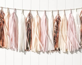 Blush, Champagne, & Rose gold tassel garland // wedding and party decoration// backdrop//birthday party