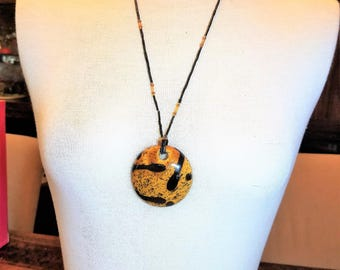 Light Brown Tan and Black Pendant vintage Necklace Stretch Necklace