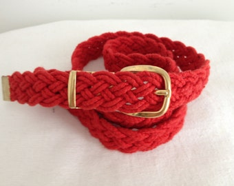 "Vintage Gutos Red Braided Cotton Cord Belt, Made in ""West Germany"", Women's Medium"