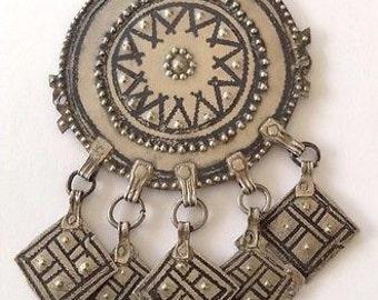 Big Old SILVER Niello Moroccan Berber Ethnic Tribal Focal PENDANT- Sun & Dangles