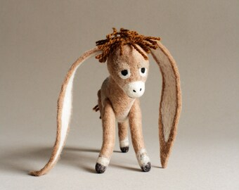Nestor - The Long-Eared Christmas Donkey. Art Toy. Standing donkey, Christmas gift, Felted Toy. beige brown tan.