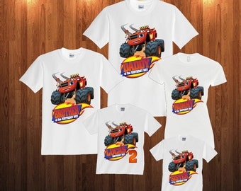 Blaze and monster machines long sleeve and Short Sleeve Birthday Shirt Custom personalized shirts for all family, b2