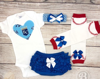 Kansas City Royals Baby Girl Game Day Outfit, Royals Baseball Baby Girl Clothes, KC Royals Bodysuit, Royals Baby Outfit