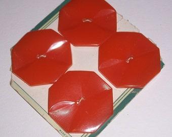 4 Vintage Bakelite Orange or Butterscotch Buttons