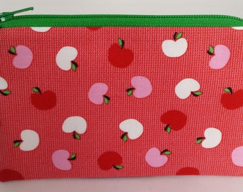 Little Zipper Pouch - Apples on Red // Coin Purse // Gift Card Holder // Party Favor // Stocking Stuffer // Gift for Kids