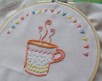 Hand Embroidey Coffee Cup Hoop Art SALE