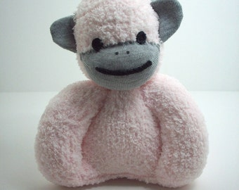 A Sock Monkey for Babies in Light Pink and Grey