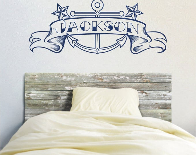 Anchor vinyl wall decal, custom banner, tattoo art, anchor sticker art, nautical wall cling