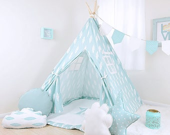 Silhouette Canal W/White Feather / teepee for kids / kids teepee / children teepee / teepee tent / play teepee / toddler tent / play tent