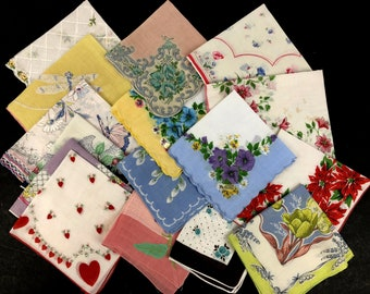 Vintage Handkerchief Lot - Floral Hankies - Crochet Edge Handkerchief - Wedding Hankies - Handkerchief Lot - Christmas Handkerchief