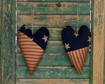 2 Patchwork Hearts, Primitive Country Decor, Americana Heart Ornaments, Patriotic Decor, Red White Blue - READY TO SHIP