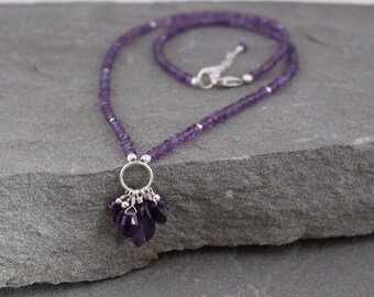 Purple Amethyst Necklace, Amethyst Gemstone Beaded Cluster Necklace, Sterling Silver, Natural Stones, Purple Beads Beadwork Amethyst Jewelry