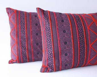"""12"""" x 20/24"""" Boho Hmong Block Printed Cotton with Yarn Embroidered Lumbar Pillow Cover /17079"""